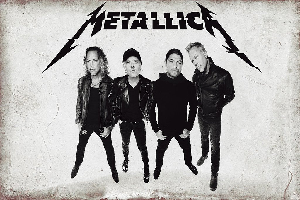 Metallica 2017 Black and White Art Poster
