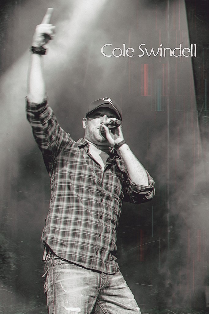 Cole Swindell Black and White Poster
