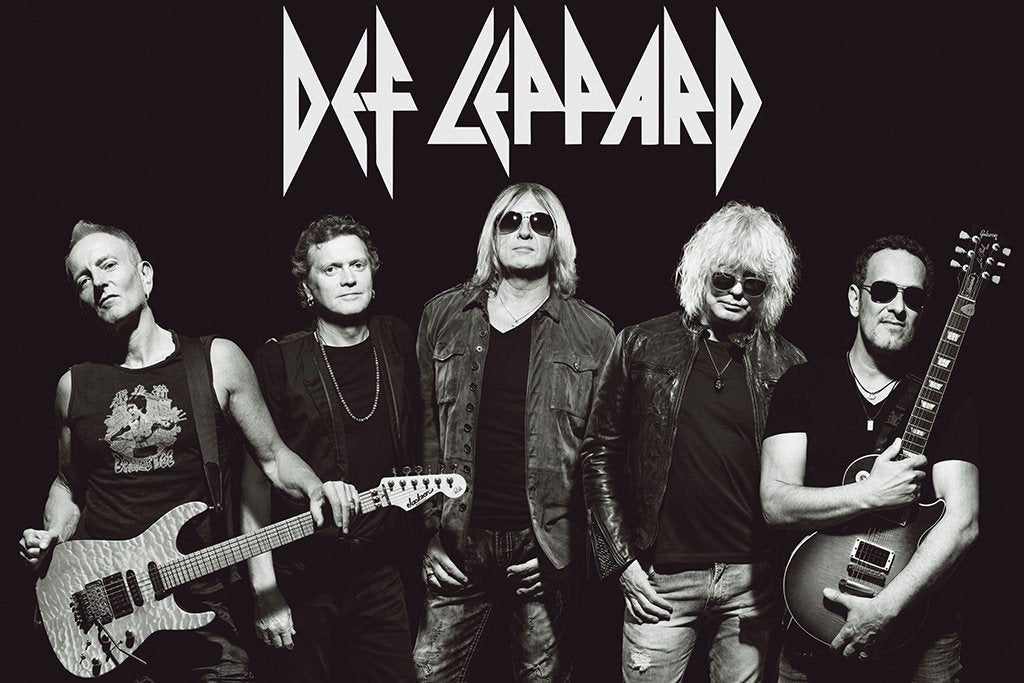 Def Leppard Black and White Poster