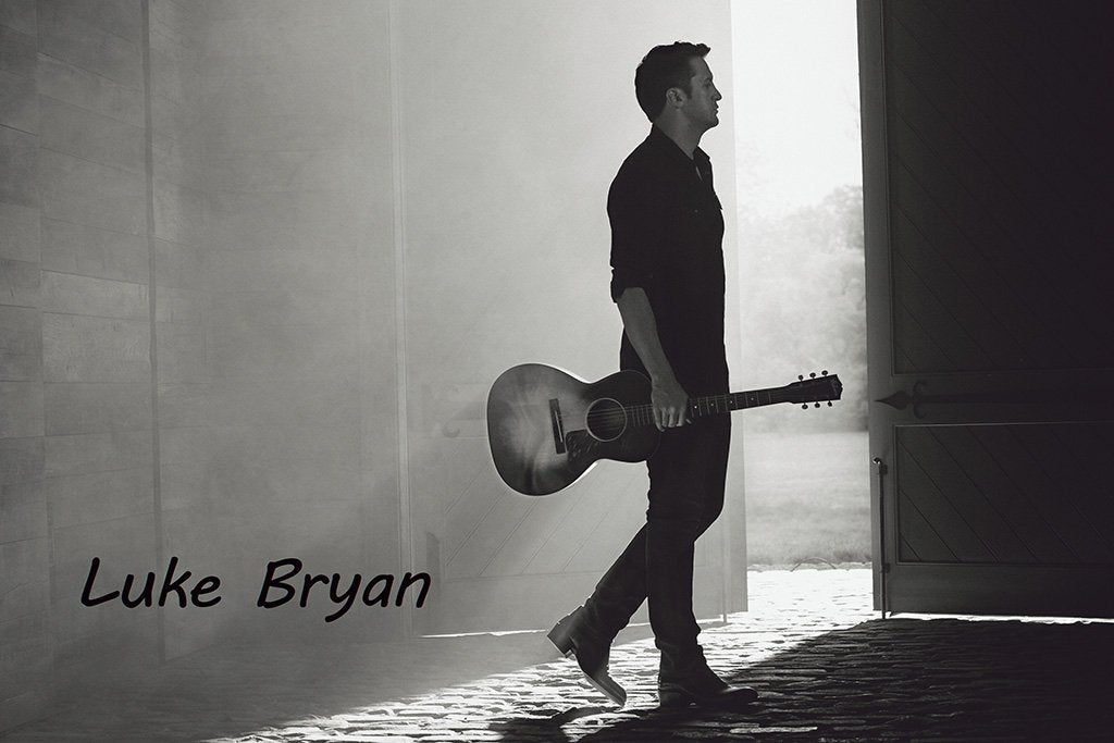 Luke Bryan Black and White Poster
