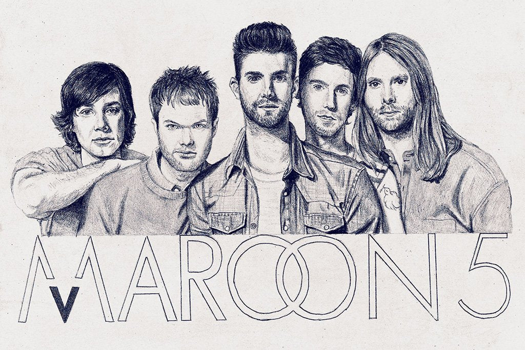 Maroon 5 Black and White Fan Art Poster