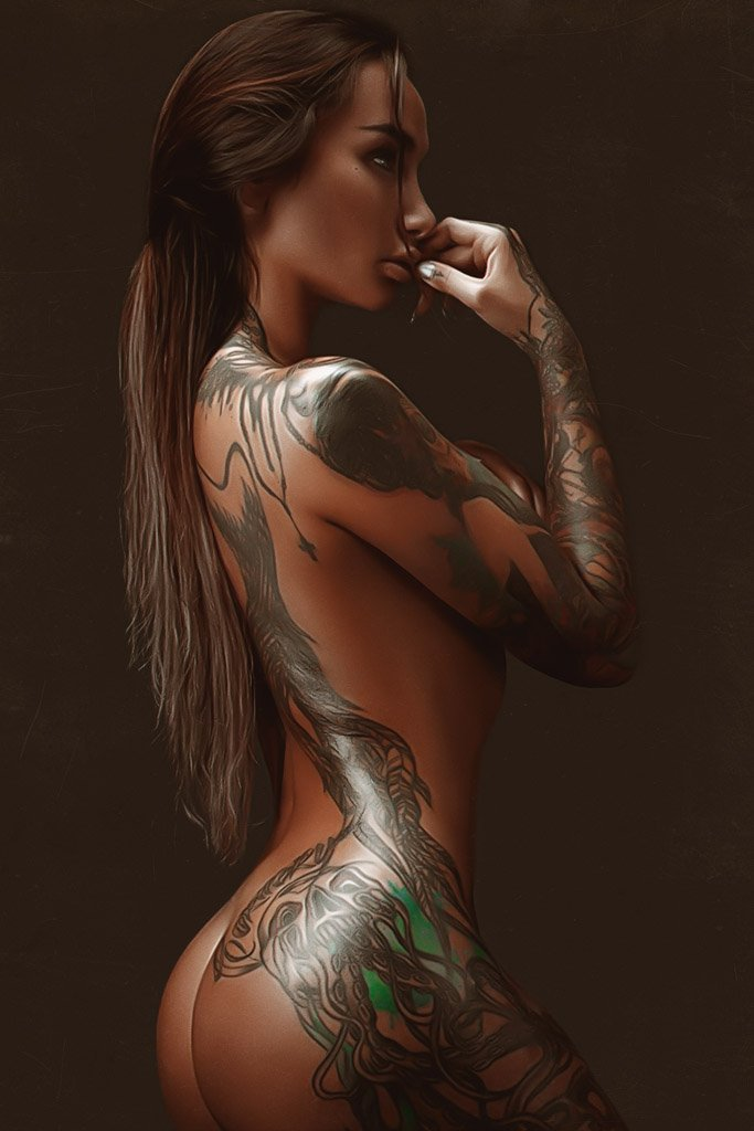 Hot Tattooed Girl (Set 1, 8/10) Poster