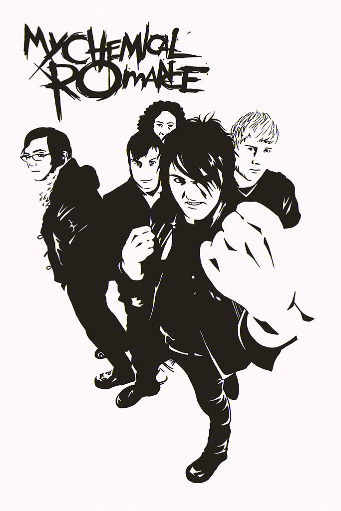 My Chemical Romance Pop Punk Band Black and White Poster