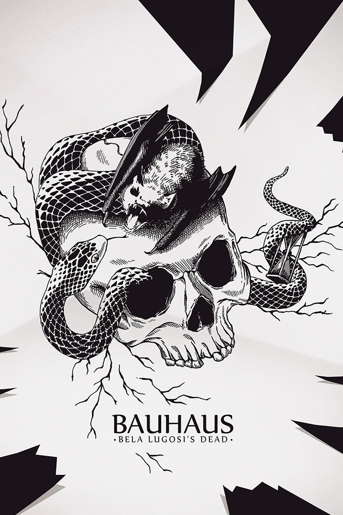 Bauhaus Pop Punk Band Black and White Poster
