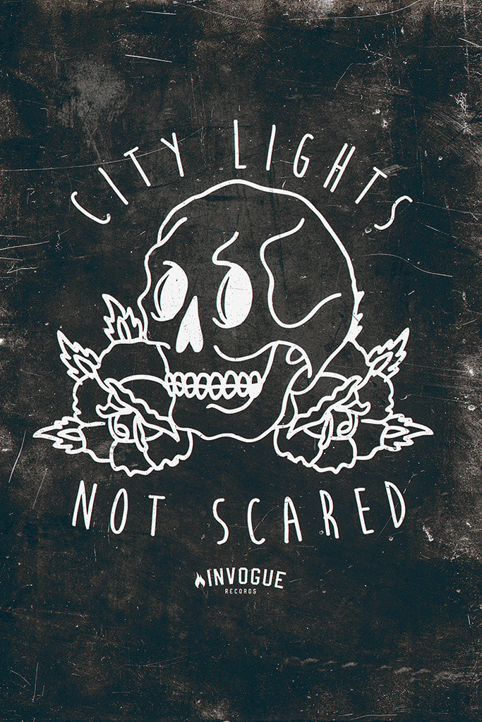 City Lights Pop Punk Band Black and White Poster