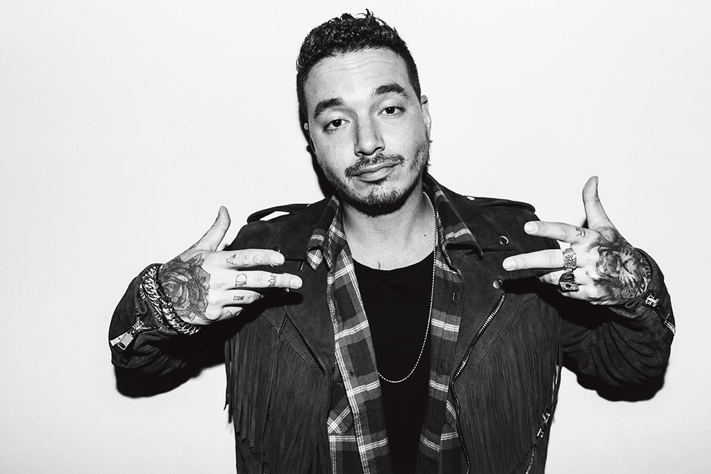 J Balvin Singer Black and White Poster