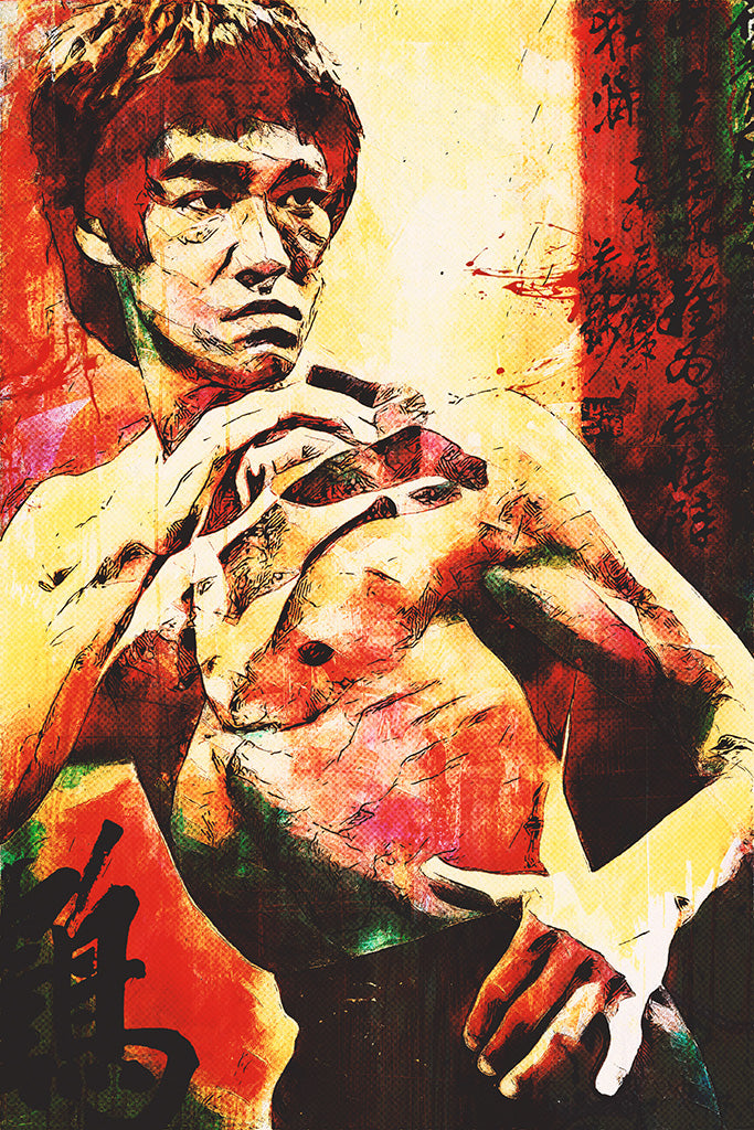 Bruce Lee Colourful Poster