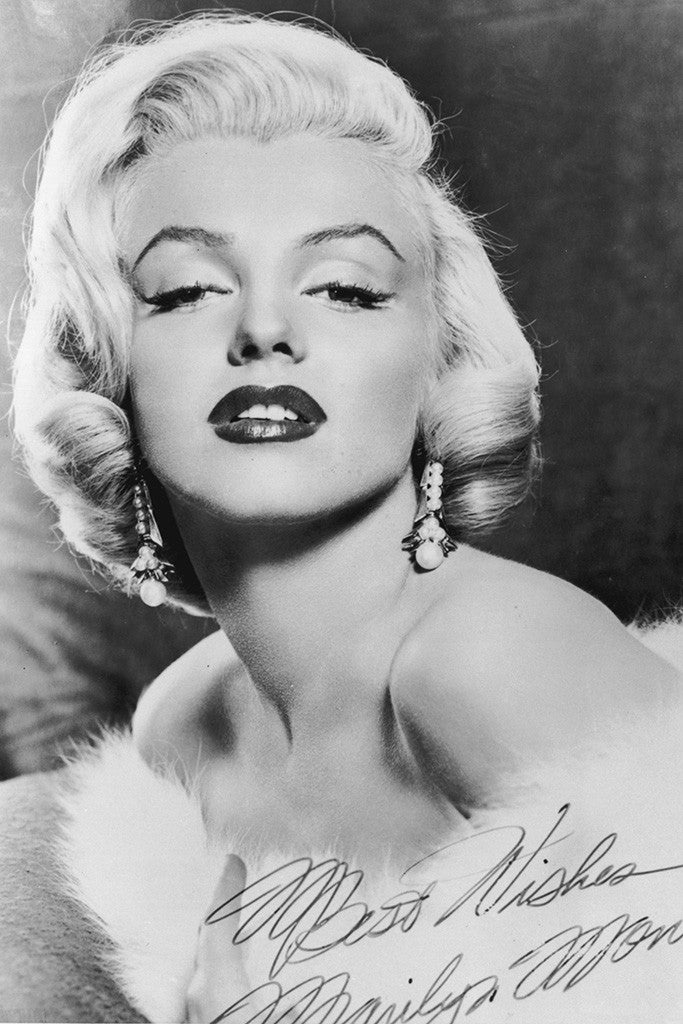 Marilyn Monroe Signature Black and White Poster