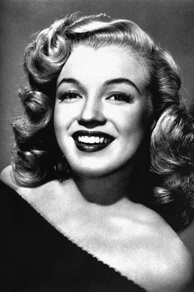 Marilyn Monroe Young Smile Black and White Poster