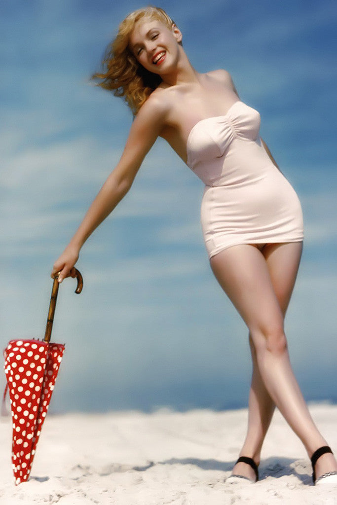 Marilyn Monroe Full Body Bikini Beach Poster