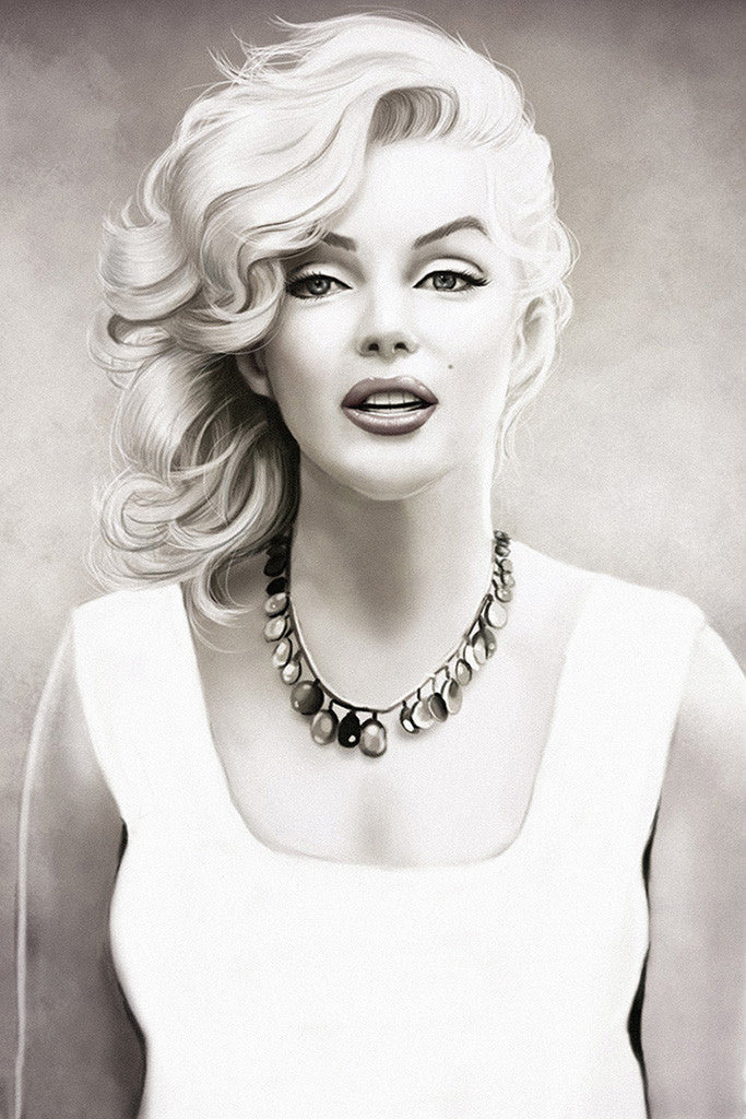 marilyn monroe black and white art poster my hot posters poster store. Black Bedroom Furniture Sets. Home Design Ideas