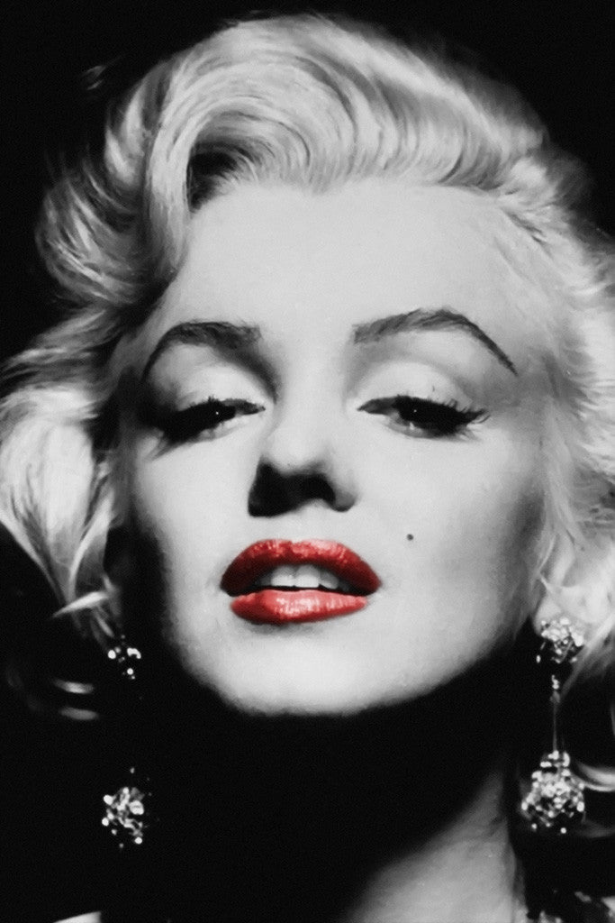 Marilyn Monroe Black and White Red Lips Poster