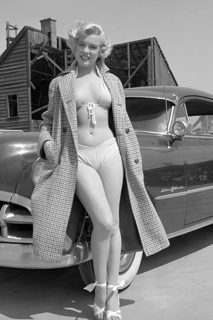 Marilyn Monroe Full Body Car Black and White Poster