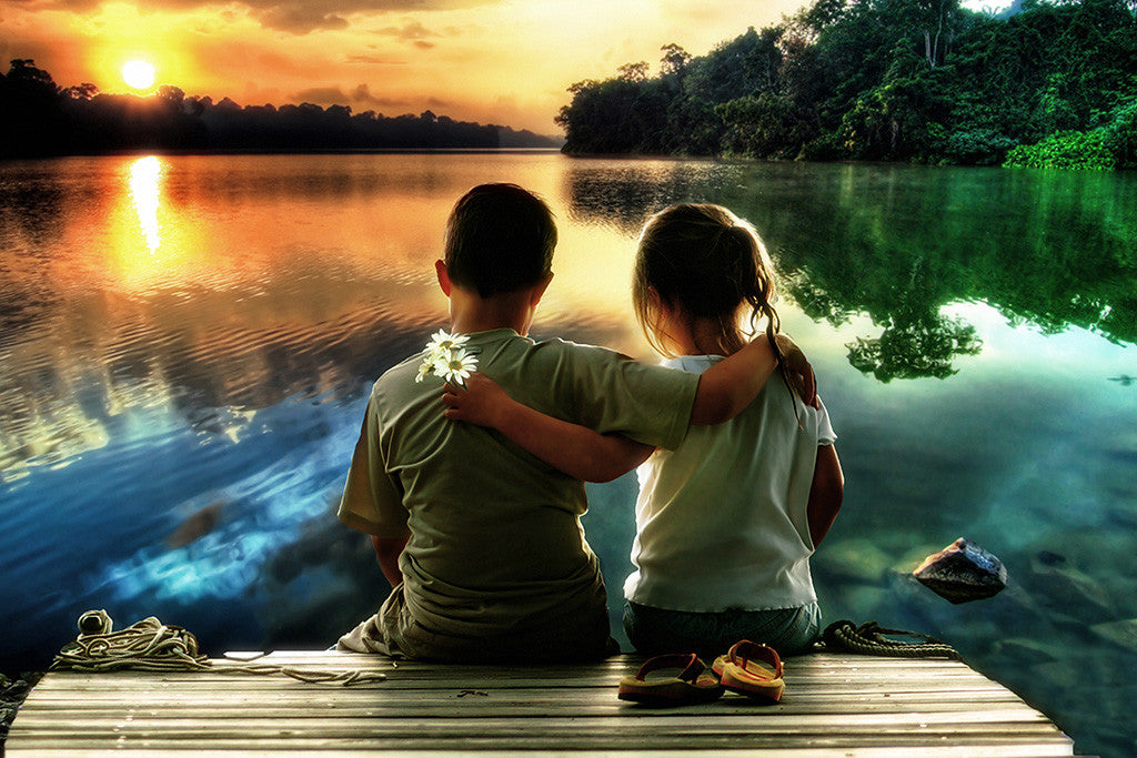 Children Lake Sunset Love Poster