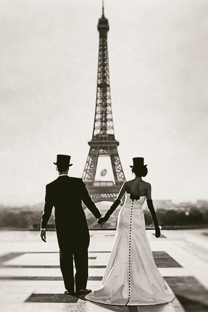 Eiffel Tower Bride Love Inspirational Motivational Poster