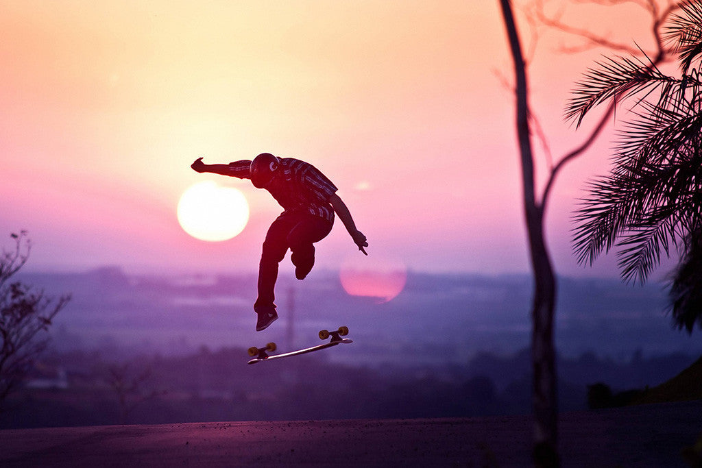 Skateboard Sunset Poster