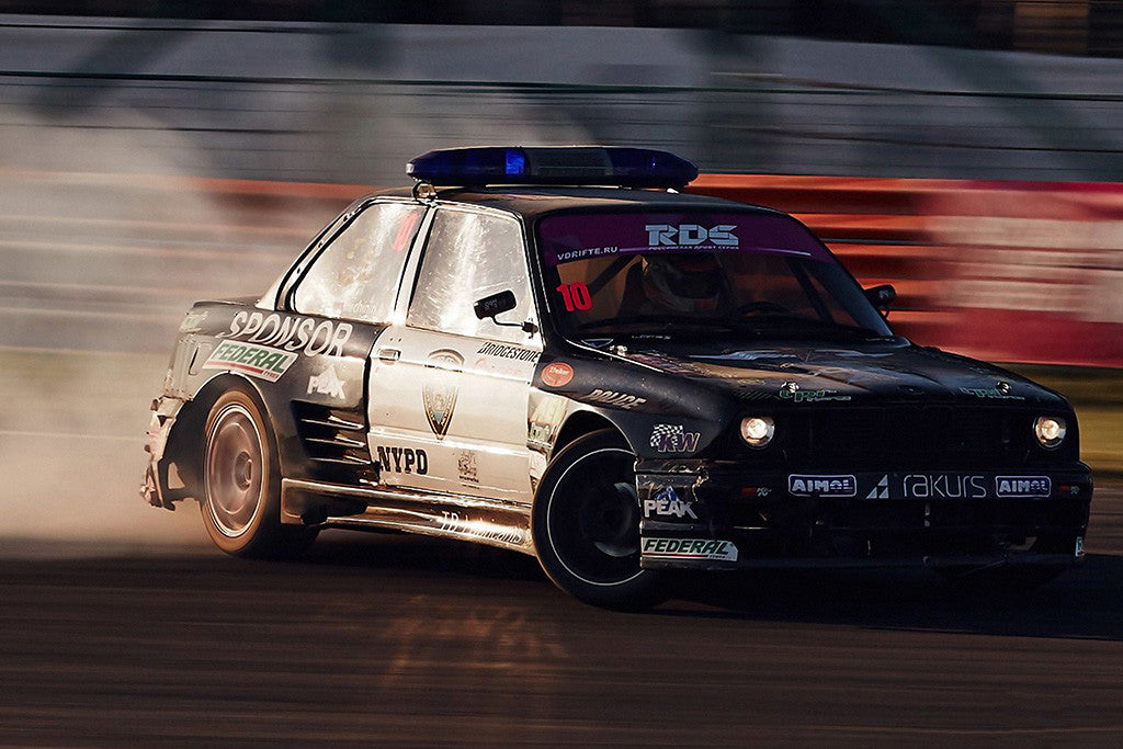 BMW M3 Police Drift Tuning Old Car Poster