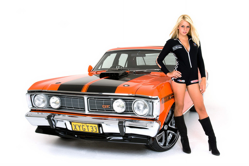 Ford Falcon Hot Girl Tuning Retro Muscle Car Poster