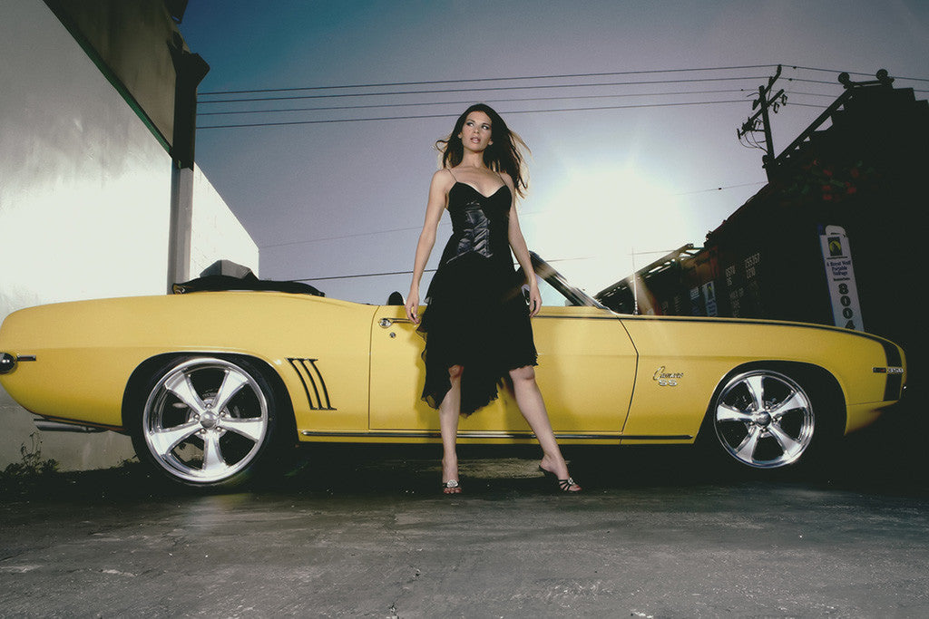 Chevrolet Camaro Brunette Hot Girl Car Poster