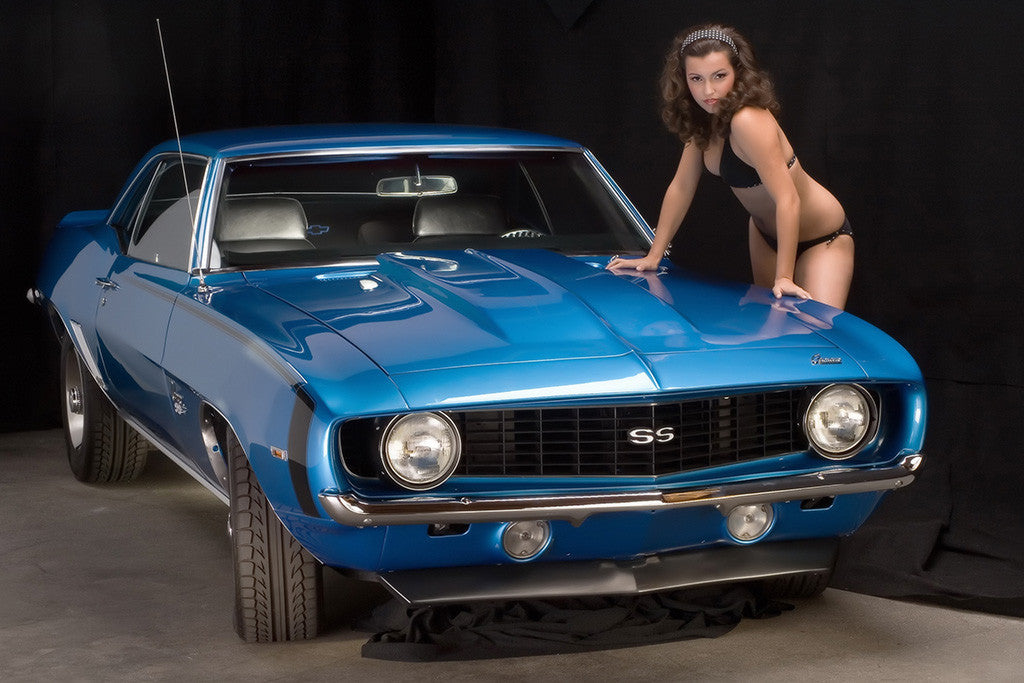 Retro Muscle Car Chevrolet Camaro SS Hot Girl Poster