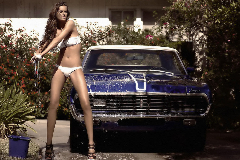 Retro Muscle Car The Mercury Cougar Hot Girl Poster