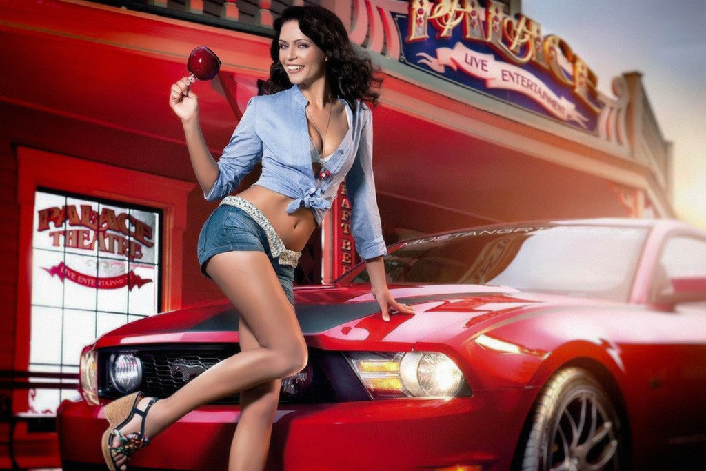 Ford Mustang Hot Girl Poster