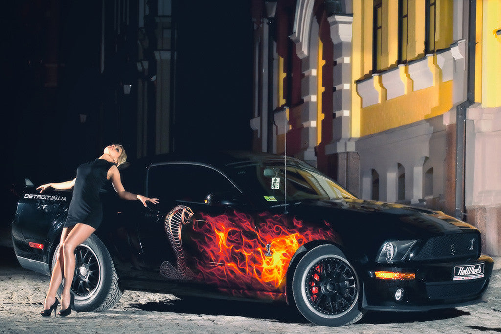 Ford Mustang Shelby GT 500 Hot Girl Car Poster