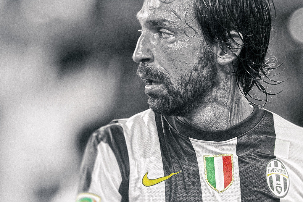 Andrea Pirlo Black and White Soccer Football Poster
