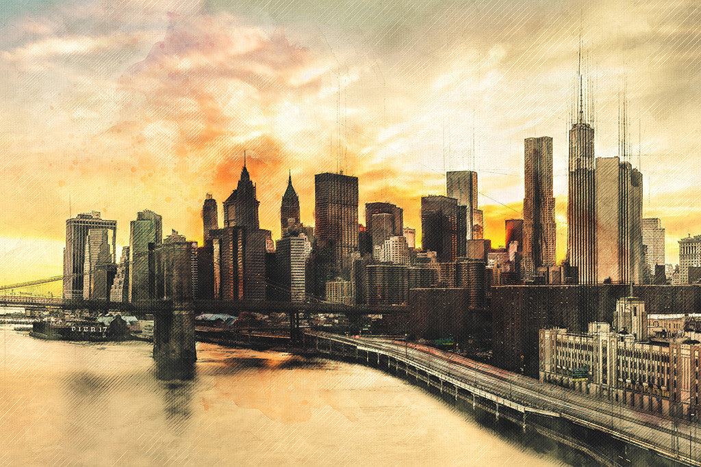 Brooklyn Bridge Manhattan New York USA Cityscape Poster