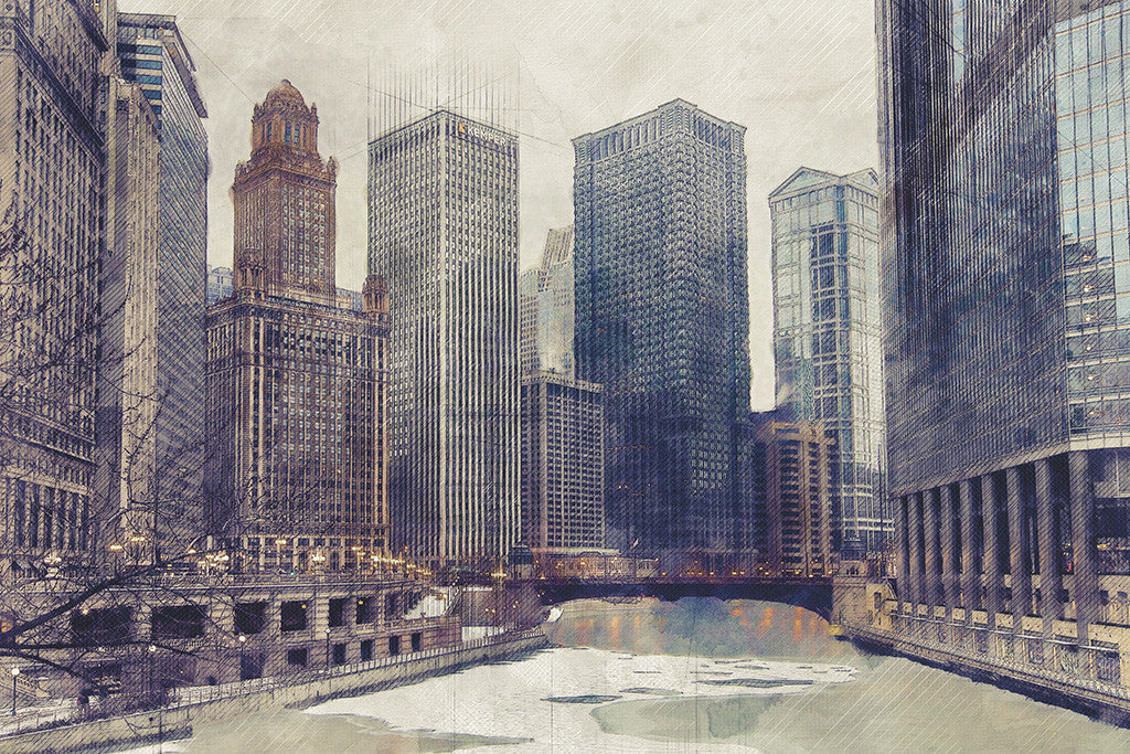 Chicago Bridge USA Cityscape Poster