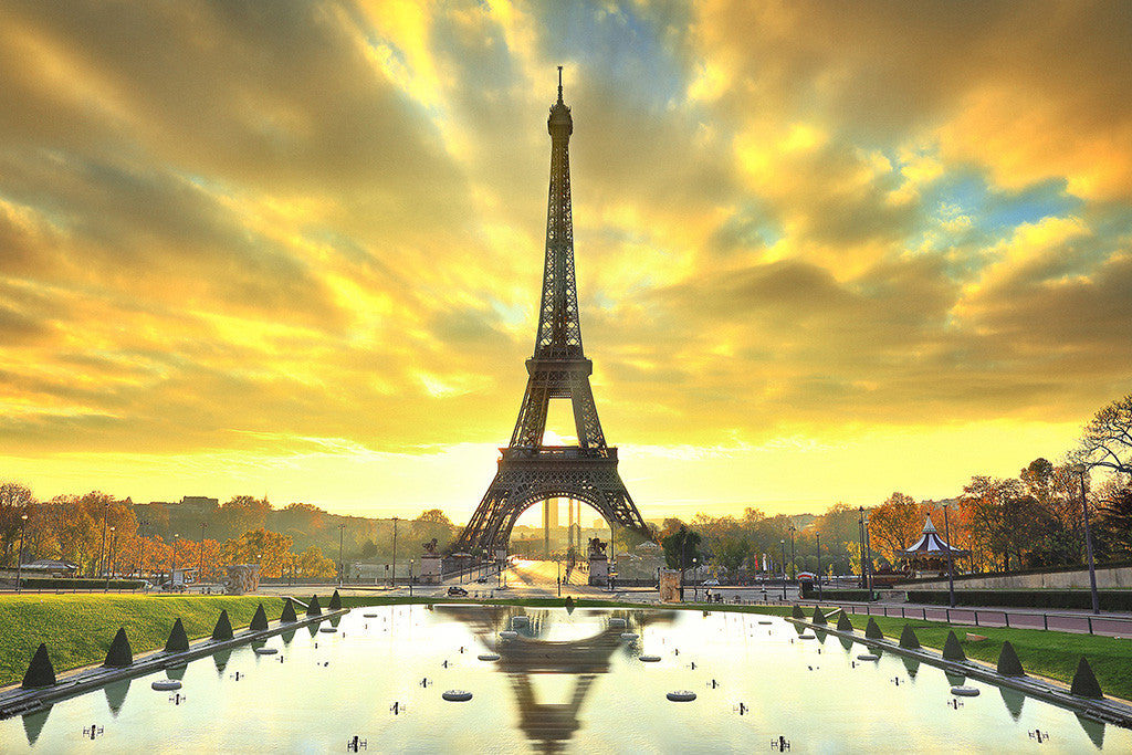 Eiffel Tower Paris France City Park Autumn Trees Cityscape Poster