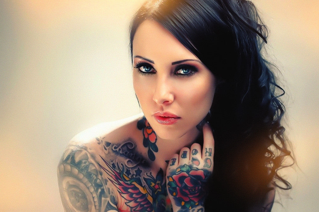 Tattoos Pin Up Cute Girl Blue Eyes Poster