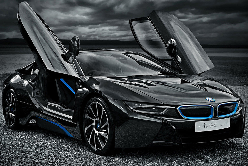 BMW i8 Black Car Poster