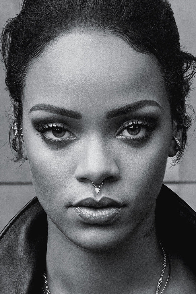 Rihanna 2016 Face Black White Poster