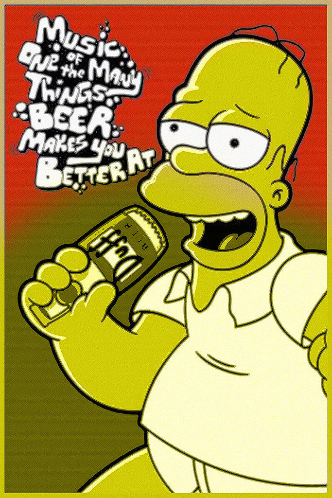 Homer Simpson Beer Music Humor Funny Poster