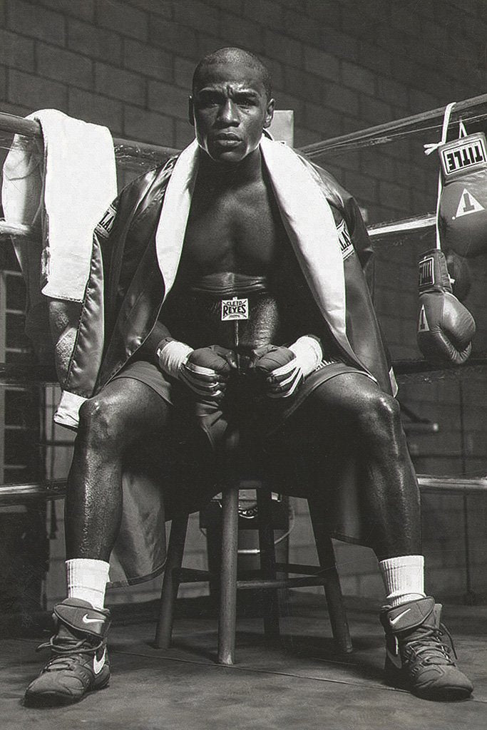 Floyd Mayweather Black and White Poster