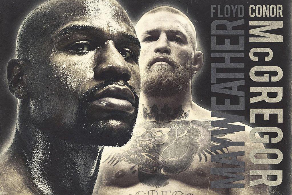 Conor McGregor vs Floyd Mayweather B&W Poster