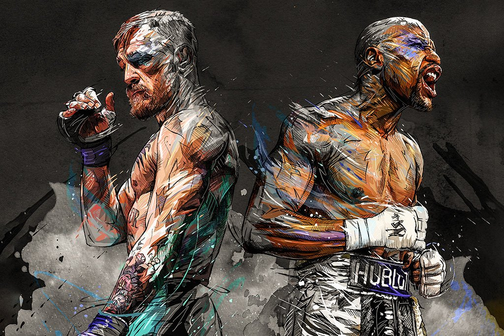 Floyd Mayweather vs Conor McGregor Art Poster