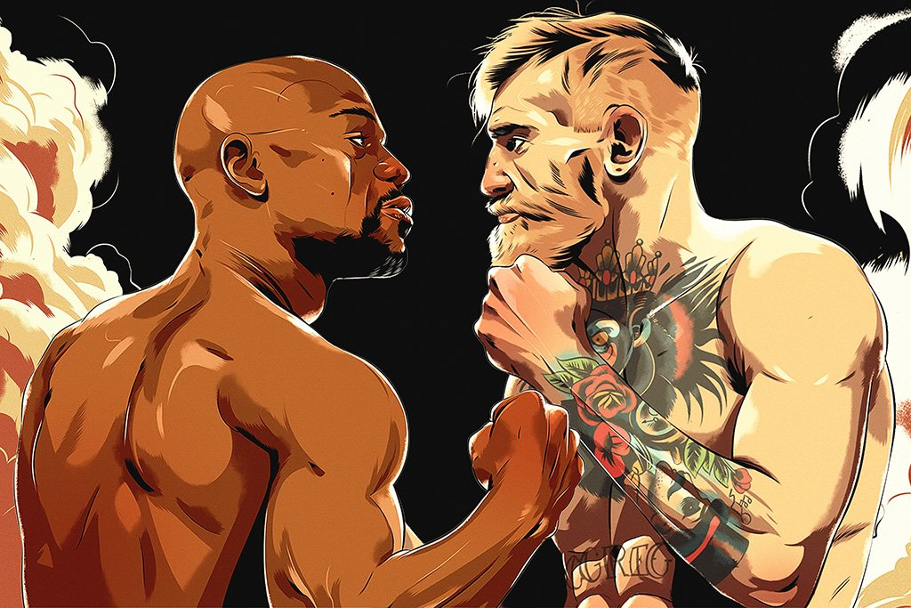 Floyd Mayweather vs Conor McGregor Face Off Poster