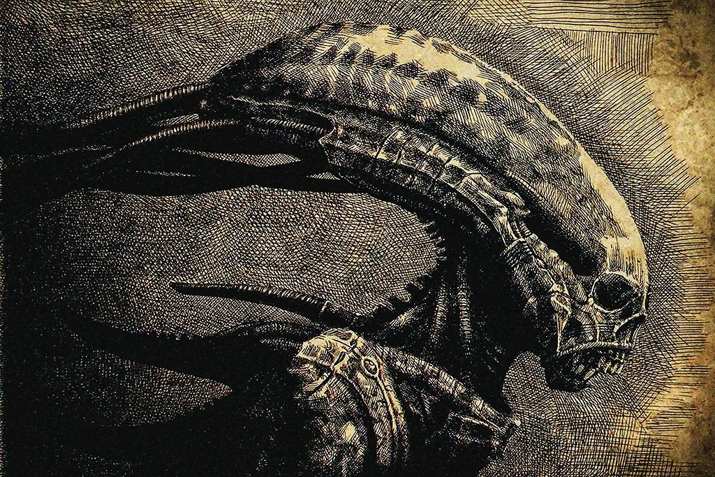 Alien Head Art Movie Poster