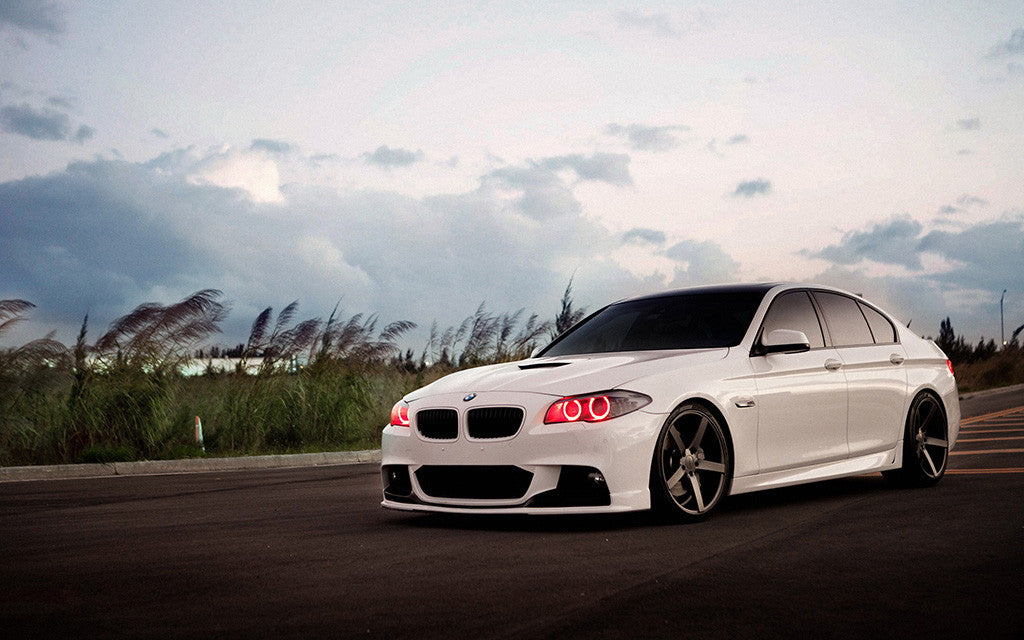 White Car BMW 5 Tuning Angel Eyes Red Leds Poster