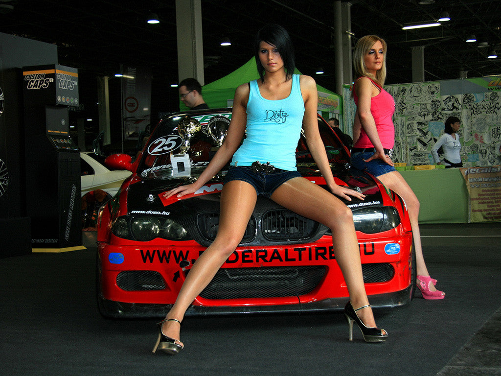 Car BMW Tuning Sexy Girls Brunette Blonde Poster
