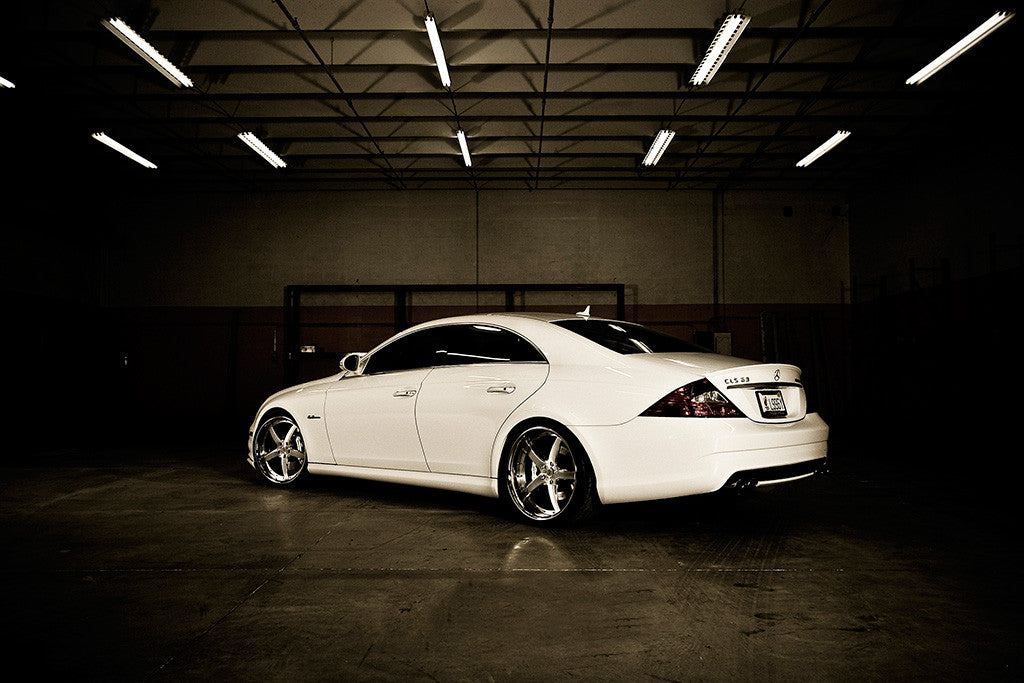 White Car Mercedestuning CLS 63 6.3 AMG Poster