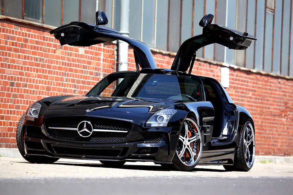 Auto Black Car Mercedes SLS AMG Doors Poster