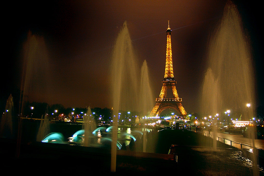 City Paris France Eiffel Tower Night Lights Poster