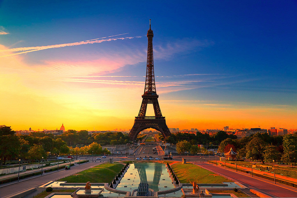 Beautiful City Paris France Eiffel Tower Sunset Poster