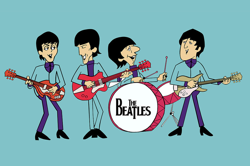 The Beatles Cartoon Rock Music Poster