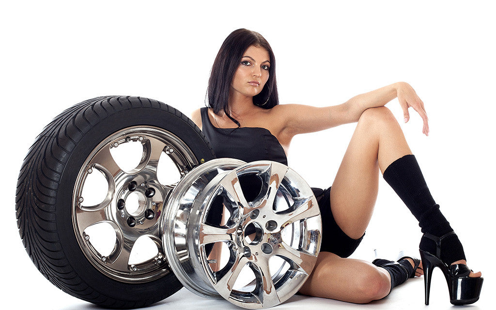 Sport Car Tires Hot Sexy Girl Brunette Poster