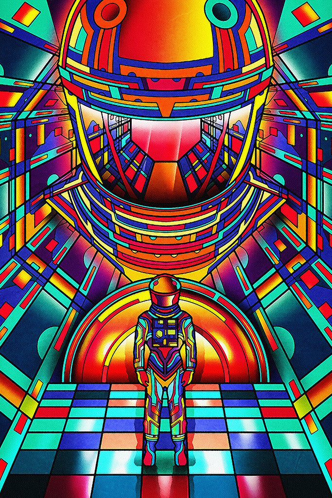 2001 A Space Odyssey Colorful Movie Fan Art Poster