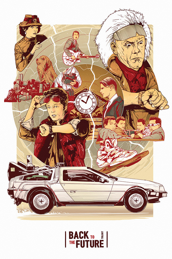 Back To The Future Car DeLorean DMC-12 Movie Fan Art Poster